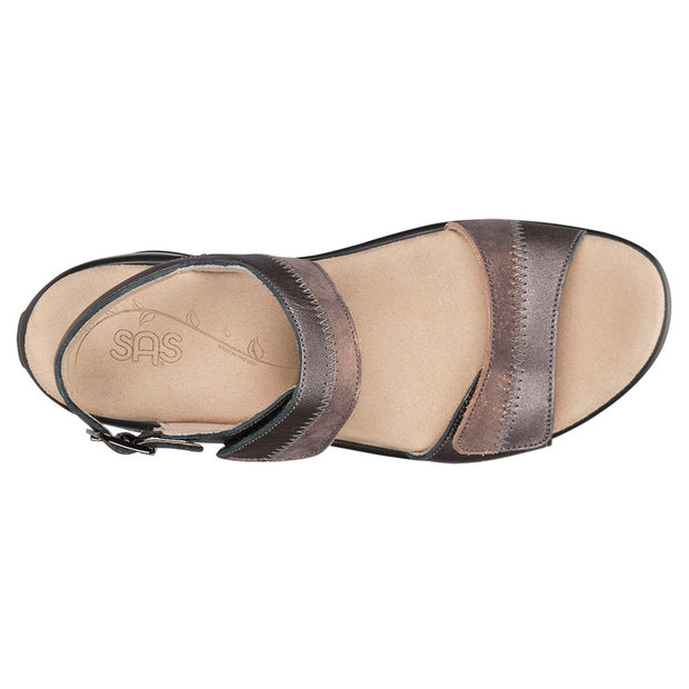 sas womens two tone leather sandal nudu dusk