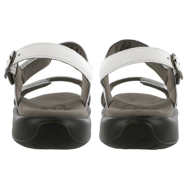 sas womens two tone leather sandal nudu white