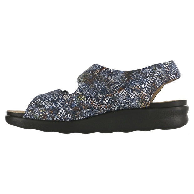 sas womens wide walking sandal relaxed multisnake navy