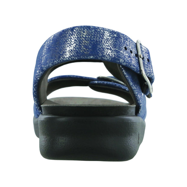 sas womens wide walking sandal relaxed silver blue