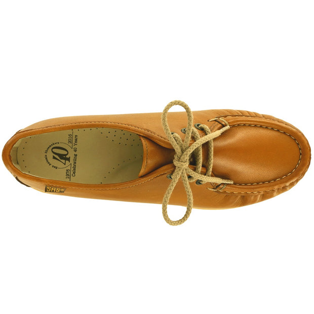 sas womens classic moccasin lace up siesta british tan