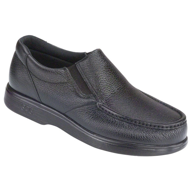 sas mens slip on moccasin side gore black