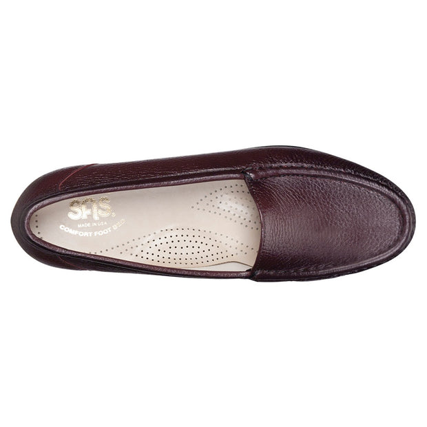 sas womens slip on moccasin loafer simplify antique wine