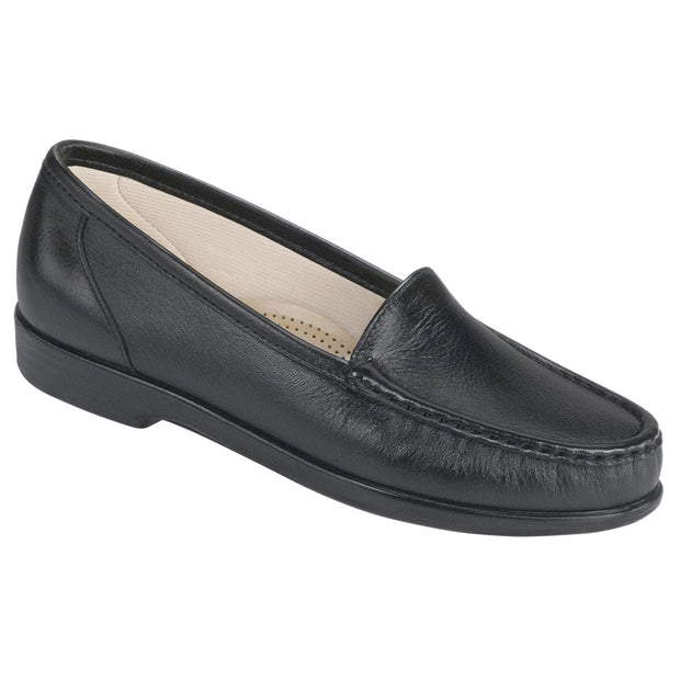 sas womens slip on moccasin loafer simplify black