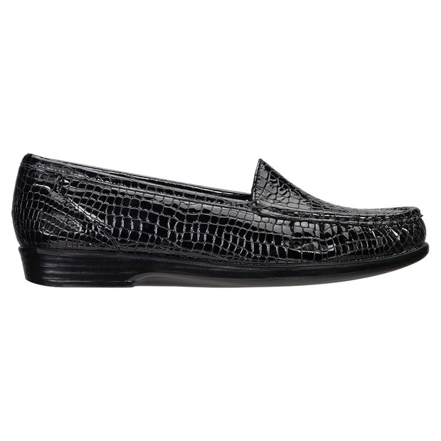 sas womens slip on moccasin loafer simplify black croc