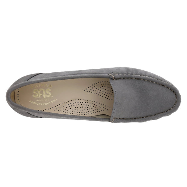 sas womens slip on moccasin loafer simplify gray nubuck