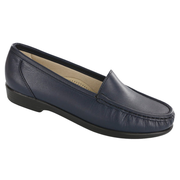sas womens slip on moccasin loafer simplify navy