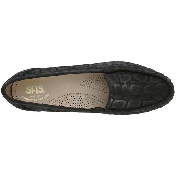 sas womens slip on moccasin loafer simplify nero snake