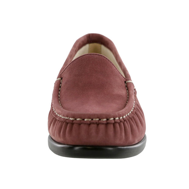 sas womens slip on moccasin loafer simplify wine nubuck