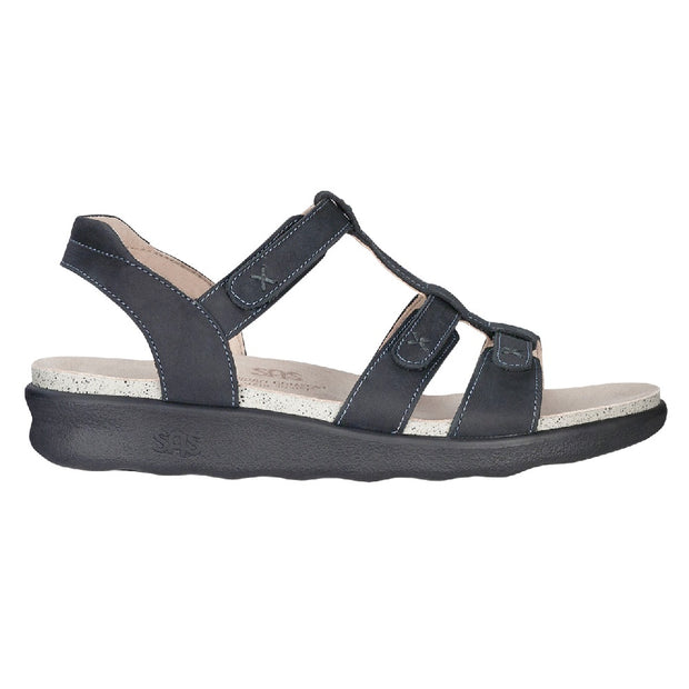sas womens sandal with ankle strap sorrento nero