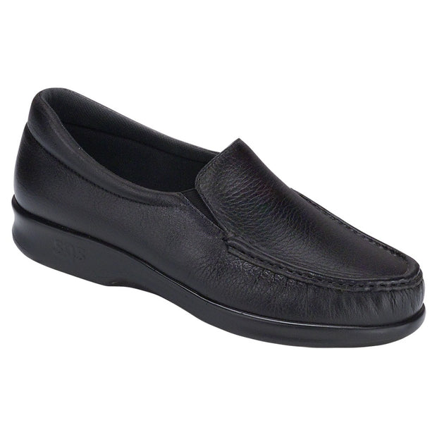 sas womens deep slip on moccasin twin black