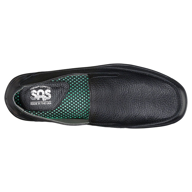 sas mens slip on leather shoe weekender black