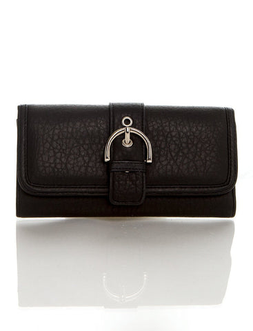 Long Clutch Purse Card Holder Wallet - Black - Ampere Creations