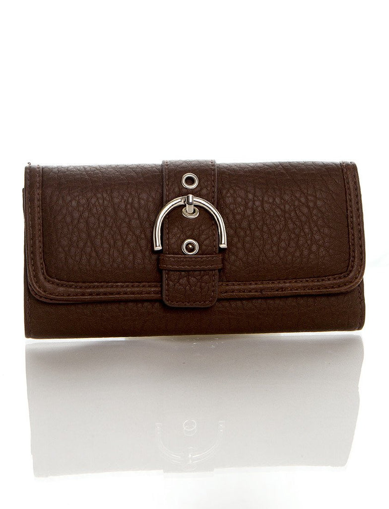 Long Clutch Purse Card Holder Wallet - Brown - Ampere Creations