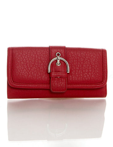 Long Clutch Purse Card Holder Wallet - Red - Ampere Creations