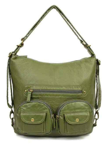 Convertible Crossbody Backpack - Army Green - Ampere Creations