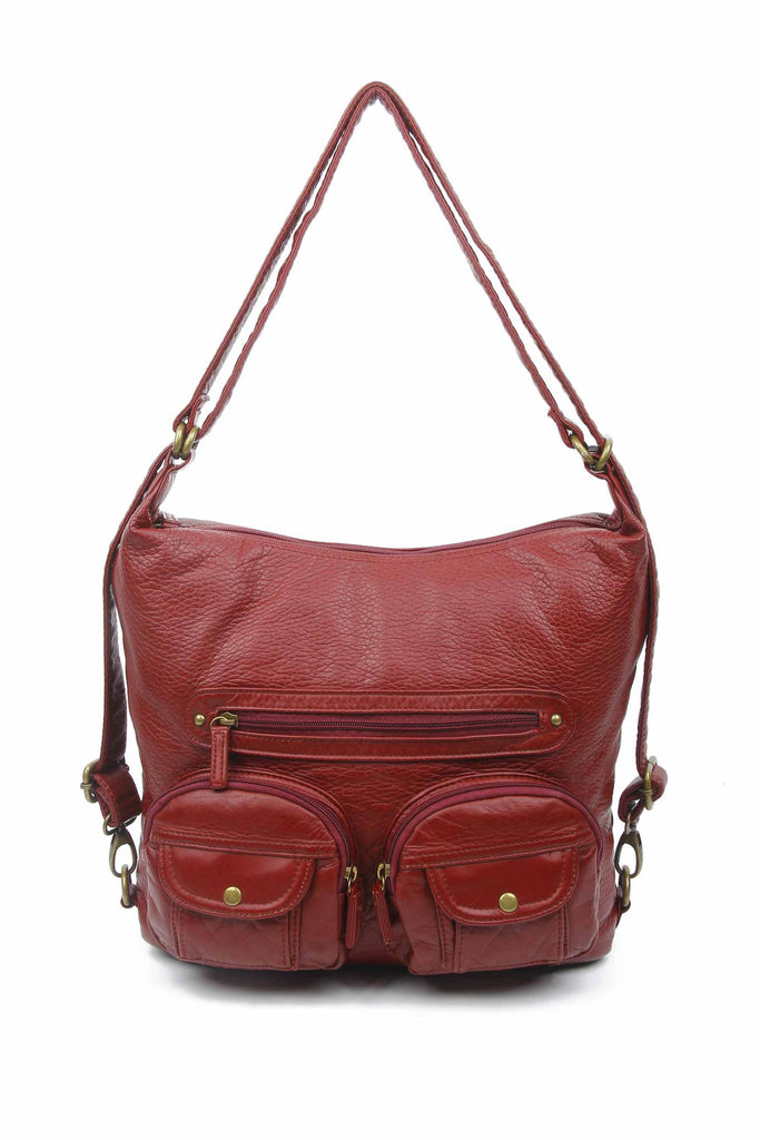Convertible Crossbody Backpack - Burgundy - Ampere Creations