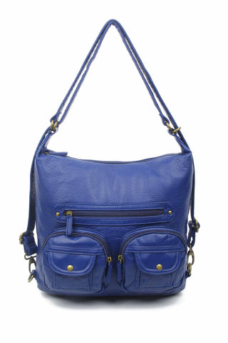 Convertible Crossbody Backpack - Dark Blue - Ampere Creations