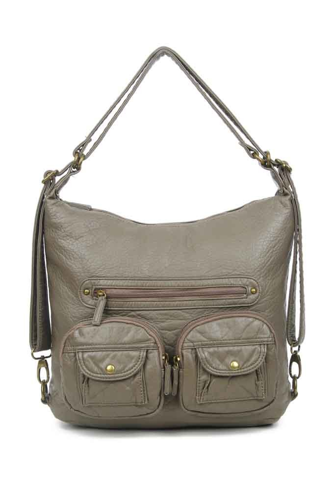 Convertible Crossbody Backpack - Dark Grey - Ampere Creations