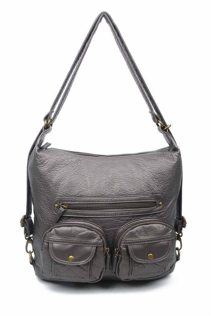Convertible Crossbody Backpack - Dark Silver