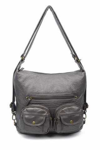 Convertible Crossbody Backpack - Dark Silver - Ampere Creations