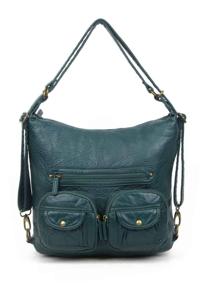Convertible Crossbody Backpack - Forest Green - Ampere Creations