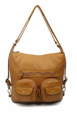 Convertible Crossbody Backpack - Light Brown - Ampere Creations