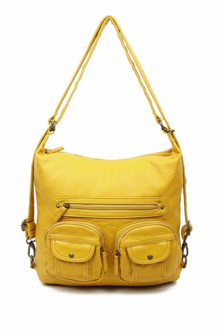 Convertible Crossbody Backpack - Mustard - Ampere Creations