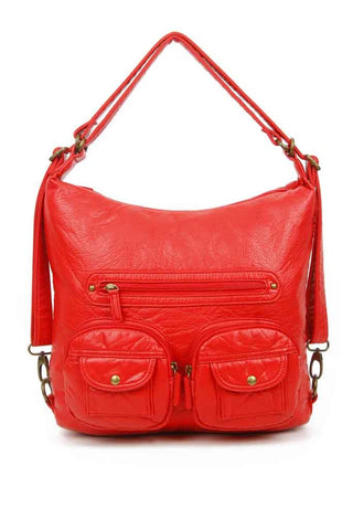 Convertible Crossbody Backpack - Poppy Red