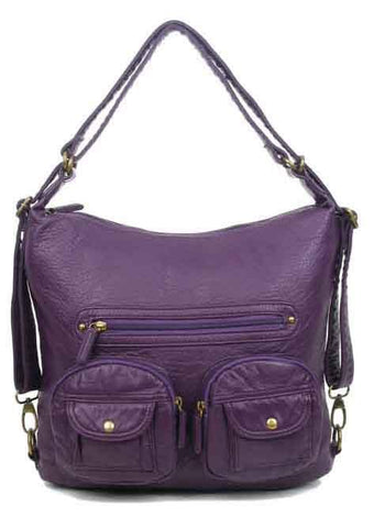 Convertible Crossbody Backpack - Purple - Ampere Creations