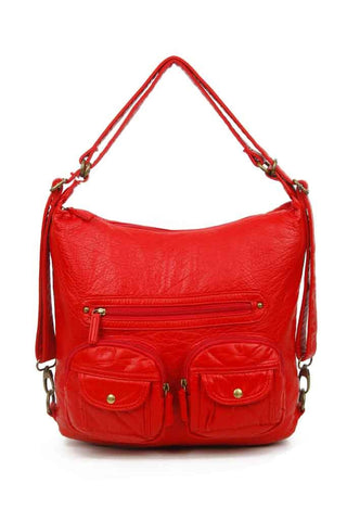 Convertible Crossbody Backpack - Red - Ampere Creations