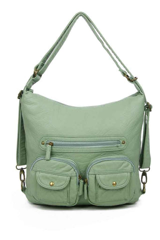 Convertible Crossbody Backpack - Seafoam Green - Ampere Creations