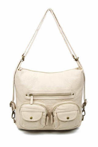 Convertible Crossbody Backpack - Taupe - Ampere Creations