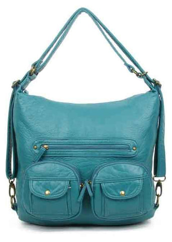 Convertible Crossbody Backpack - Teal - Ampere Creations