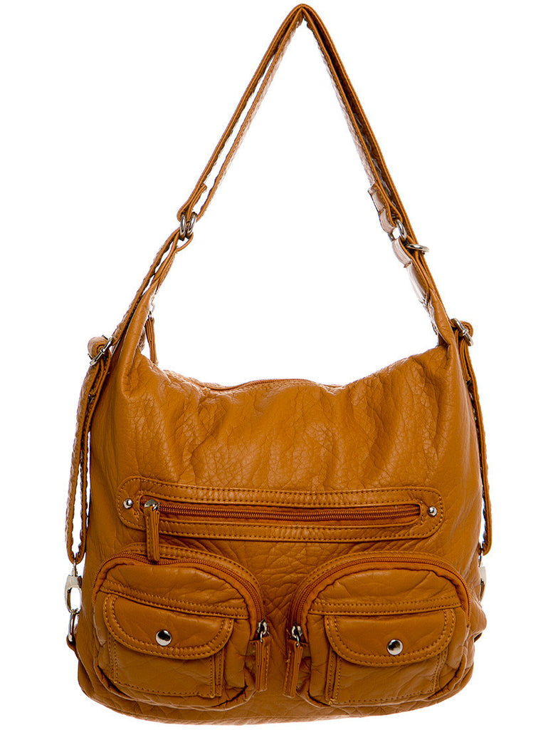 Convertible Crossbody Backpack - Camel