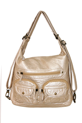 Convertible Crossbody Backpack - Champagne - Ampere Creations