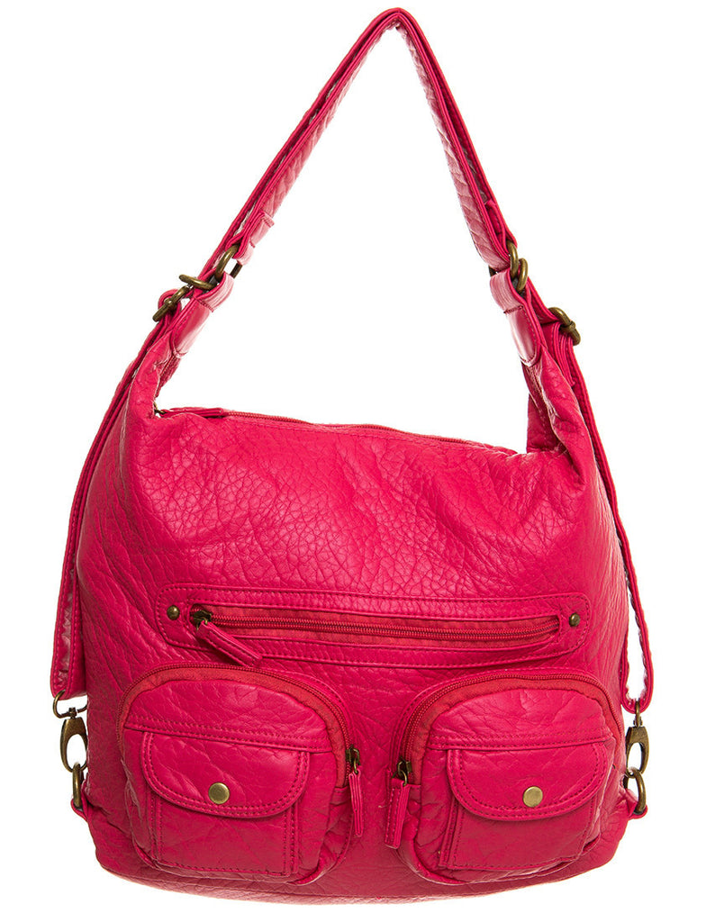 Convertible Crossbody Backpack - Coral