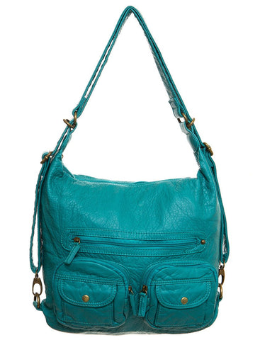 Convertible Crossbody Backpack - Light Blue - Ampere Creations