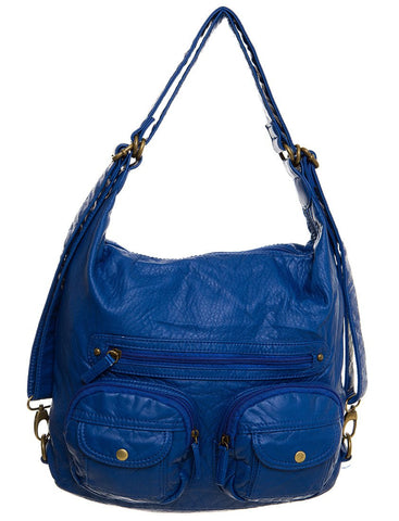 Convertible Crossbody Backpack - Royal Blue - Ampere Creations