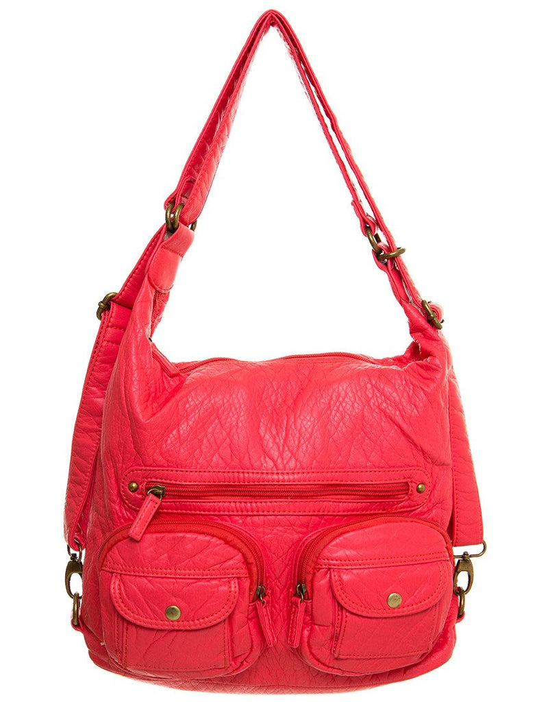 Convertible Crossbody Backpack - Salmon - Ampere Creations