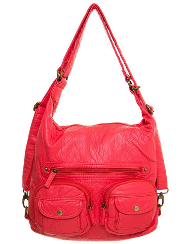 Convertible Crossbody Backpack - Salmon