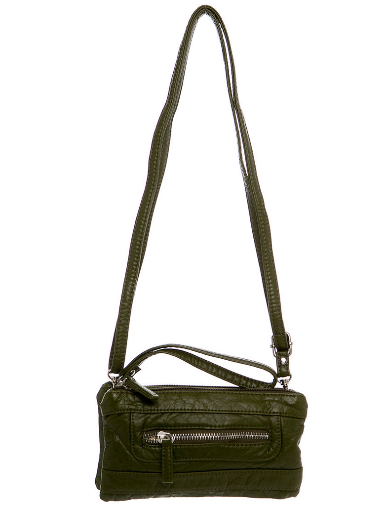 The Classical Three Way Wristlet Crossbody - Army Green
