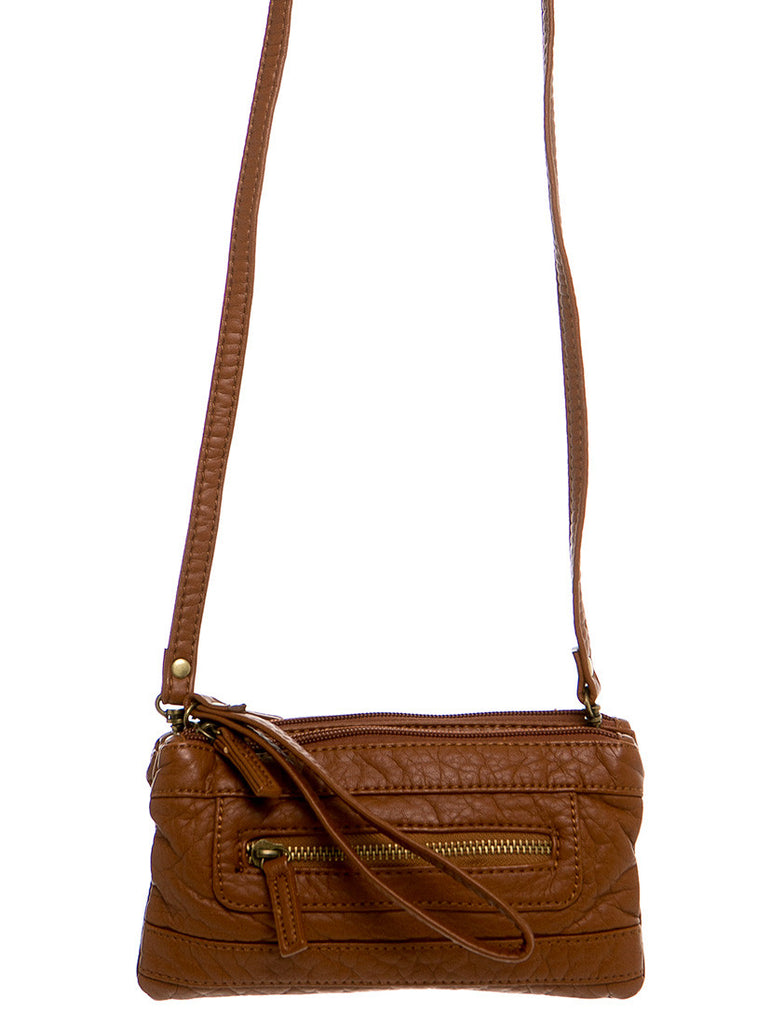 The Classical Three Way Wristlet Crossbody - Brown