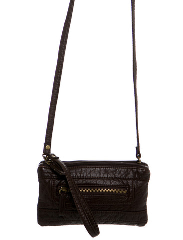 The Classical Three Way Wristlet Crossbody - Chocolate
