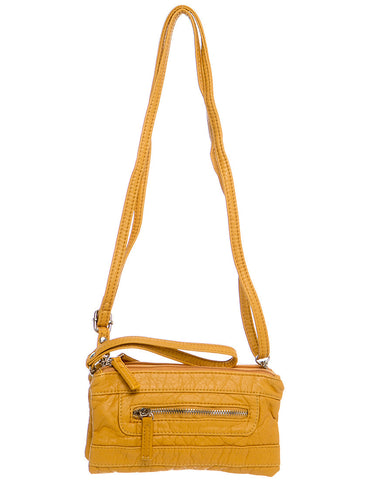 The Classical Three Way Wristlet Crossbody - Mustard - Ampere Creations