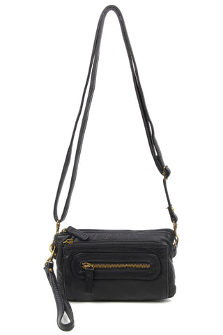 The Anita Three Way Crossbody Wristlet - Black - Ampere Creations