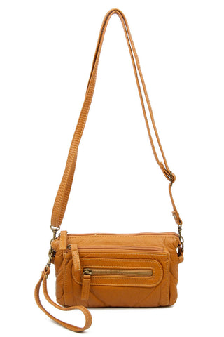The Anita Three Way Crossbody Wristlet - Light Brown - Ampere Creations