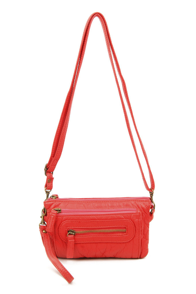 The Anita Three Way Crossbody Wristlet - Poppy Red - Ampere Creations