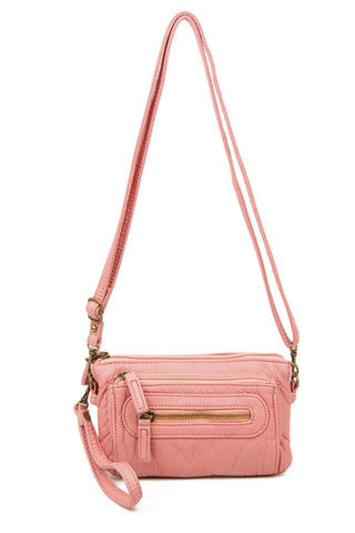 The Anita Three Way Crossbody Wristlet - Rose Pink