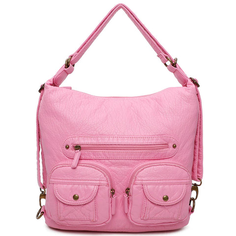Convertible Crossbody Backpack - Bubble Gum Pink